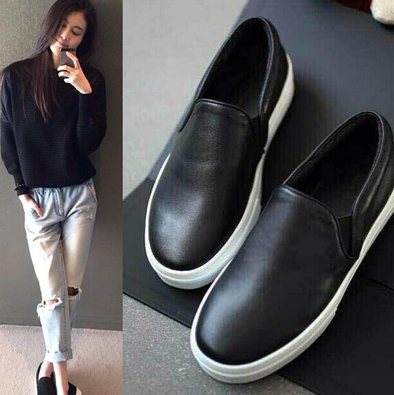 ba3370e2cee4 2015 New Autumn Casual Fashion Soft Leather Slip On Round Toe Black Loafers  Women Flats Heel Moccasin Shoes Woman