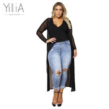 Yilia New Plus Size Chiffon Shirt XXXL Autumn 2017 Elegant Black Perspective Women Clothing Long Sleeves Solid Long Shirt BD139