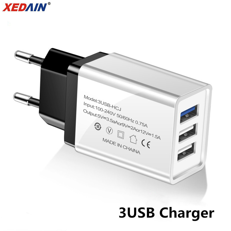 Usb-Charger Mobile-Phone Universal 3-Port-Plug Wall Huawei Xiaomi Samsung For IPhone/Xiaomi/Huawei/Wall