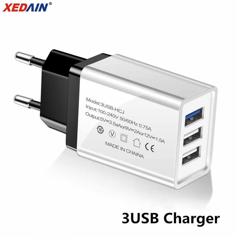 USB Charger 3-Port Plug Fast Charging EU/US Charger for Samsung iPhone XiaoMi Huawei Wall Mobile Phone Universal Adapter Charger