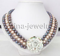 17 19inch 3row 9 10mm black & pink round freshwater pearl necklace