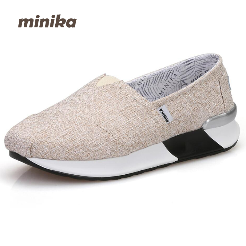 Minika women Canvas Shoes Summer breathable Slip On Shallow Lose Weight wedges Platform Casual Flats Outdoors Shoes 7e19 minika women shoes summer flats breathable lace loafers platform wedges lose weight creepers platform slip on shoes woman cd41