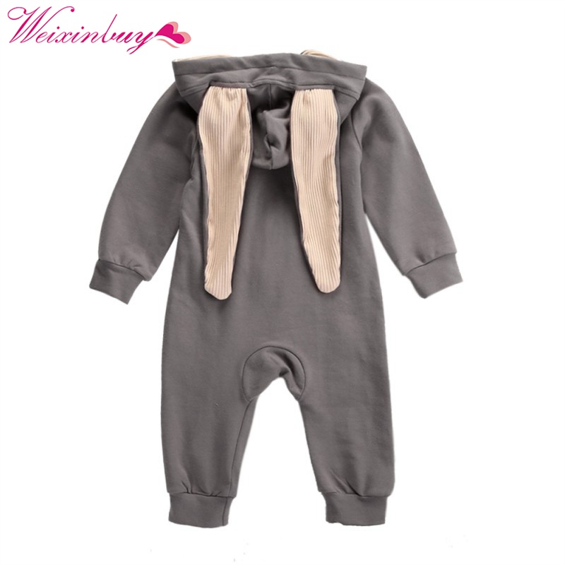 Spring Newborn Infant Baby Girl Boy Clothes Cute 3D Bunny Ear Romper Jumpsuit Playsuit Autumn Winter Warm Bebes Rompers