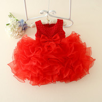 BabyGirls Dress Lace Flower Wedding Dress Christening Cake Dresses For Party Occasion Kids 1 2 Years