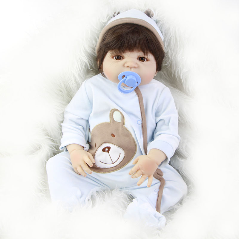 23 Real Reborn Baby Doll Boy Full Body Silicone Vinyl Looks So Truly Newborn Babies with Magnetic Pacifier Dolls Hot Sale