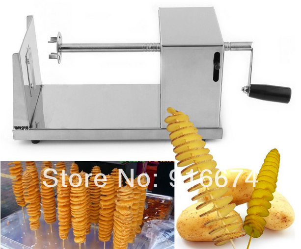 Free shipping New HOT Stainless Steel Manual Spiral Potato Chips Twister Slicer Cutter Tornado Vegetable Tool gqd kie 001 stainless steel kiwi slicer cutter rind removal tool silver