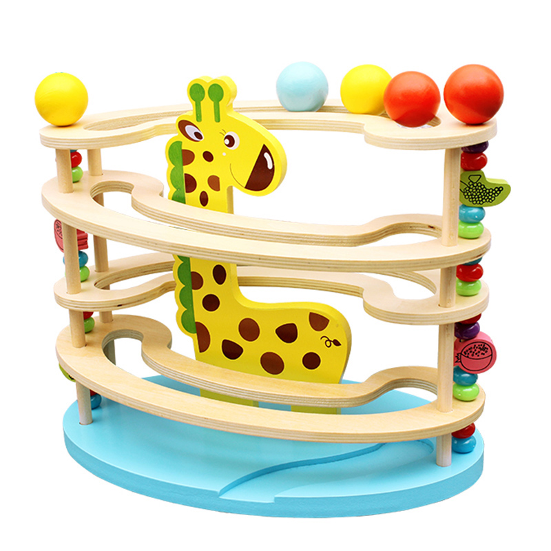 Baby Toy Wooden Block Ball Track Chopping Block Table Game Kids Educational Animal Model Ball Park