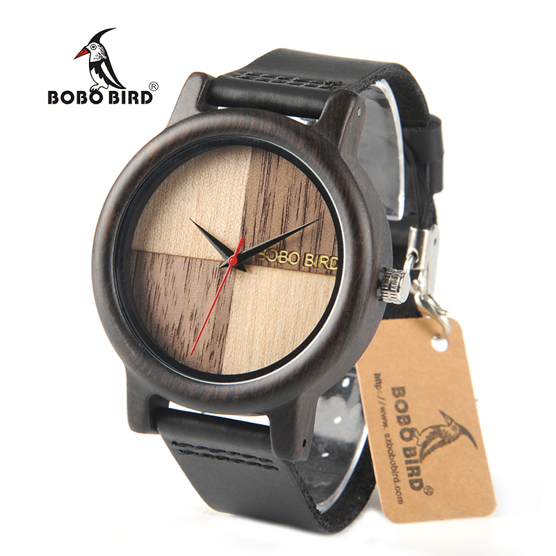 BOBO BIRD Black Wood Watches Men Quartz Wristwatches Genuine Leather Strap Watch Luxury Brand relogio feminino C-N08 bobo bird new luxury wooden watches men and women leather quartz wood wrist watch relogio masculino timepiece best gifts c p30