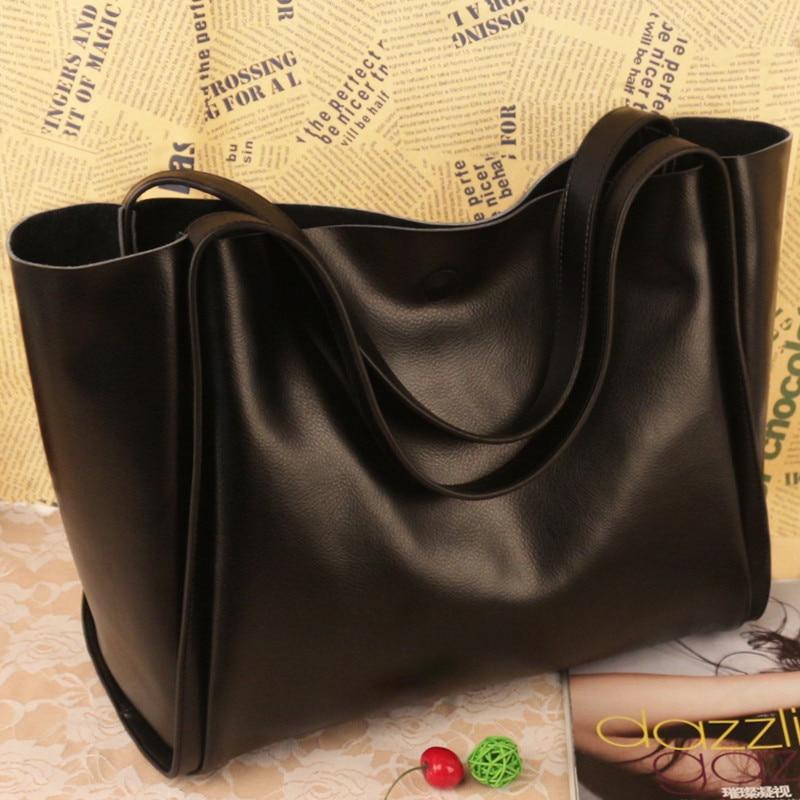 ФОТО A large capacity single shoulder bag leather bag Leather Handbag Black Fashion