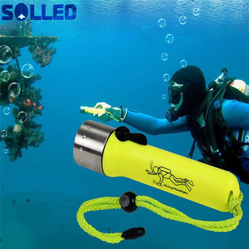 SOLLED Outdoor Portable Aluminum Alloy Bright Light Waterproof Handhold LED Diving Flashlight Lighting Torch