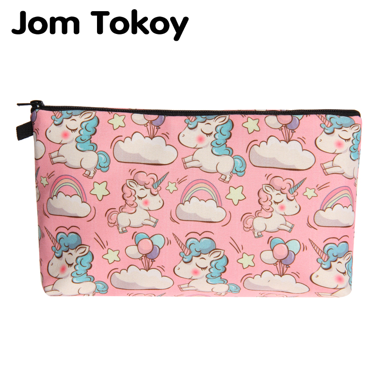 Jom Tokoy New Fashion Cosmetic Organizer Bag Unicorn Heat Transfer Printing Cosmetic Bag Fashion Women Brand Makeup Bag