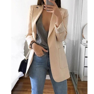 Image 4 - Newly Women Autumn Cardigans Long Sleeves Slim Fit Turn down Collar Female Suit Coat