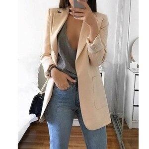 Image 4 - Recém mulher outono cardigans mangas compridas fino ajuste turn down colarinho feminino terno casaco