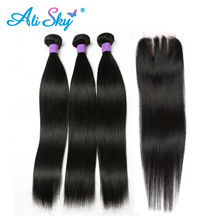 4st per lot Peruvian Straight Mänskligt Hår Väver 3 Bundlar With 1pc 4x4 Snörning Snäppning Tre Del Non Remy Ali Sky No Tangle