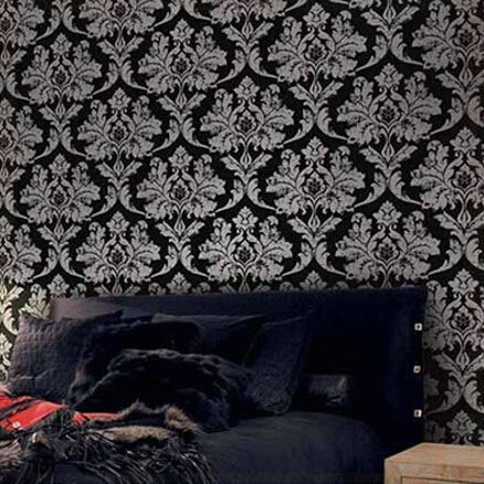 Home Decor Black Silver Damask Wallpaper Leather Bedroom Background Wall Fl For Living Room Wp510 In Wallpapers From