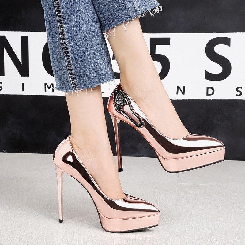 2018 Women Extreme 12cm High Heels Scarpins Gold Silver Pumps Female Fetish  Crystal Glitter Heels Lady 84bddc23eeba