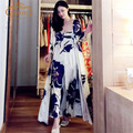 O envio gratuito de mulheres longo manto real roxo azul Sleepwear flor de cetim de seda camisola de duas peças Set
