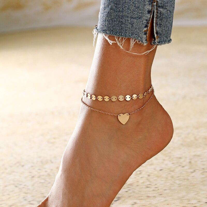 Браслеты XIYANIKE для ног женские, анклеты в форме сердца, сережки-сандалии, ювелирные изделия на лодыжку, аксессуары для женщин, цепочка для ног
