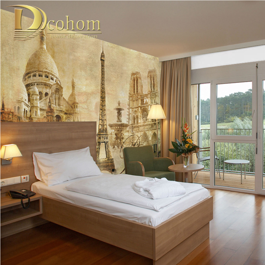 Customize Any Size Vintage Paris Eiffel Tower Bedroom TV Background Wall Paper Home Decor Living Room Non-woven Mural Wallpaper