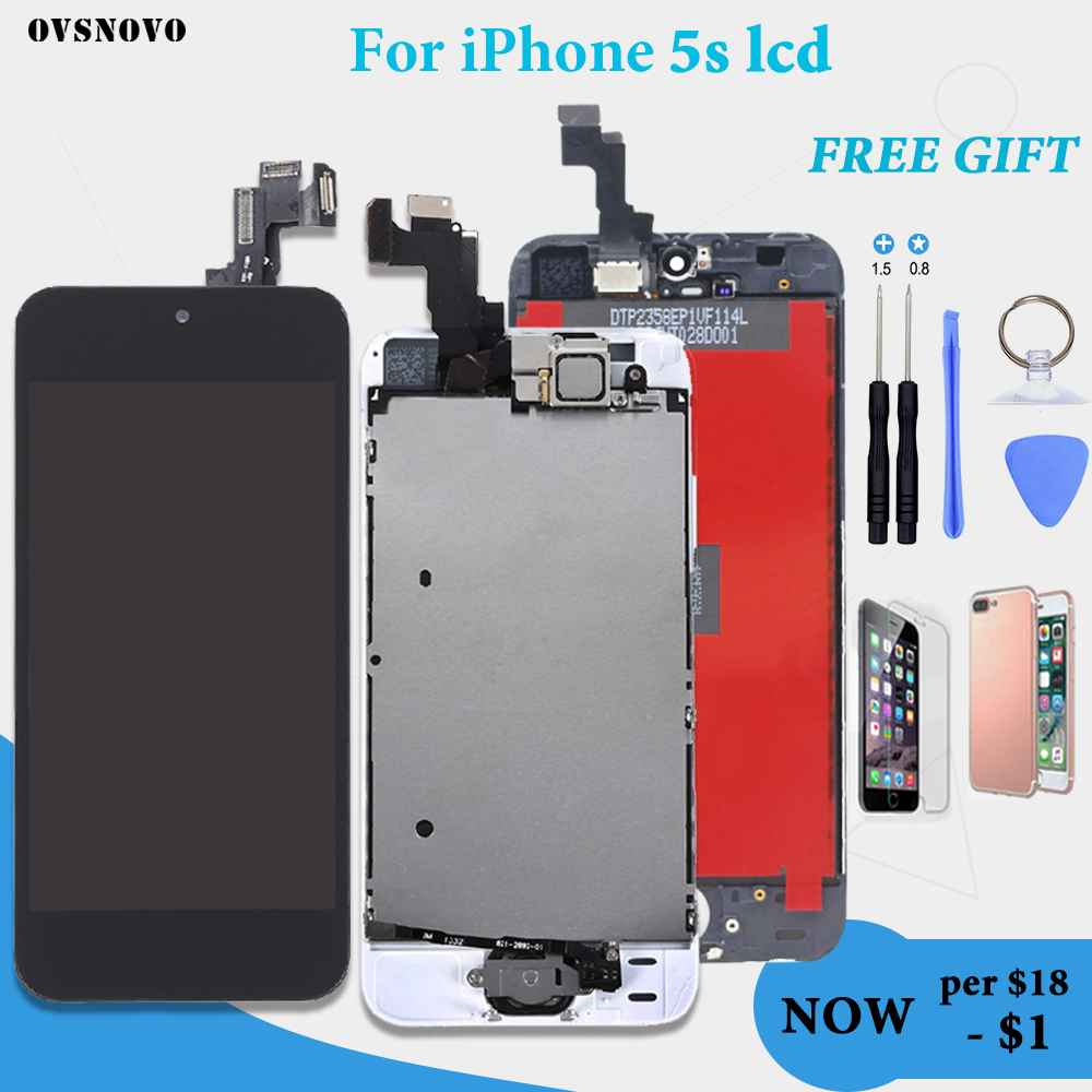 Full Set Complete Assembled LCD Display For iPhone 5S LCD Touch Screen Digitizer Pantalla Home Button+Front Camera+Ear SpeakerFull Set Complete Assembled LCD Display For iPhone 5S LCD Touch Screen Digitizer Pantalla Home Button+Front Camera+Ear Speaker
