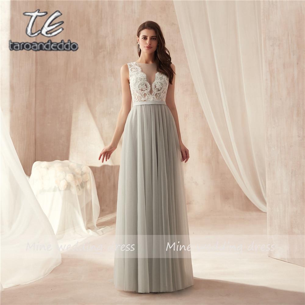 V neck Applique White Lace Top Floor Length Soft Tulle Evening Dress Illusion Button Back Long