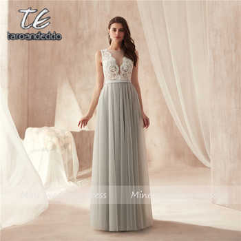 V-neck Applique White Lace Top Floor Length Soft Tulle Evening Dress Illusion Button Back Long Prom Dress robe de soiree - DISCOUNT ITEM  12% OFF All Category