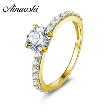 AINUOSHI 10k Solid Yellow Gold Wedding Rings Classic 1 Carat