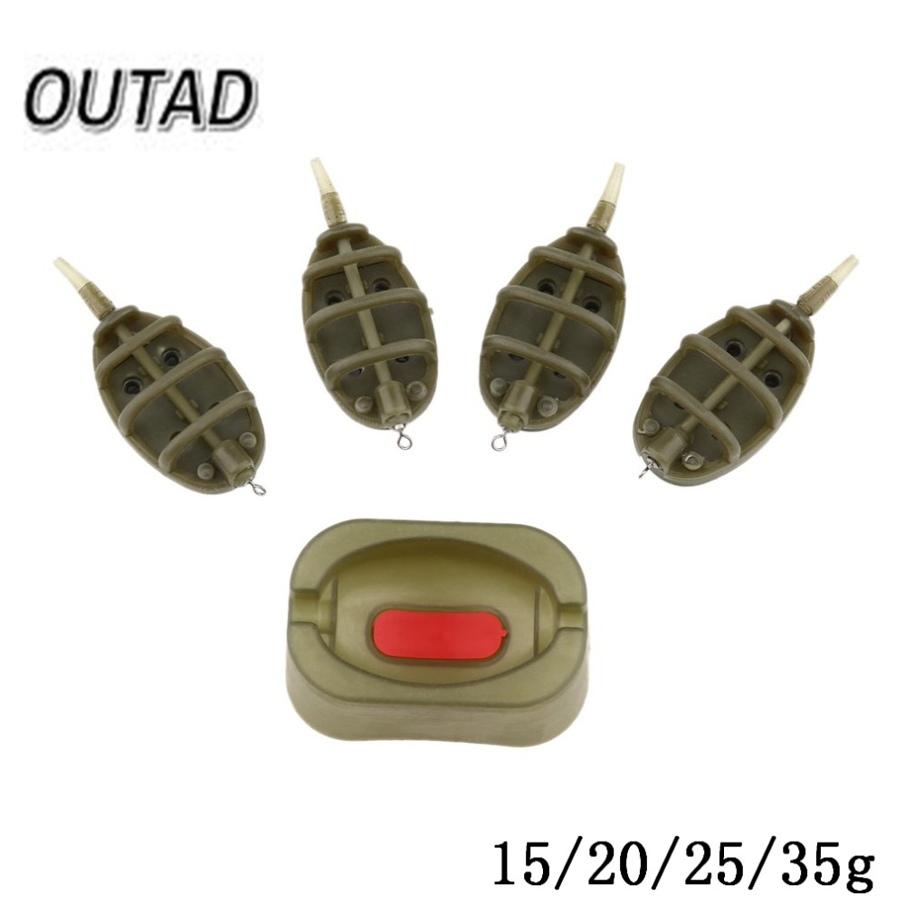 OUTAD Bait Thrower Plastic Environmental Fishing Series Tool Inline Method Carp 15/20/25/35g Mould Fishing Feeder dropshipping sams carp fishing tackle inline method feeder w mould cap leaded and sinker weight easy loop tyer tool fishing hook accessories