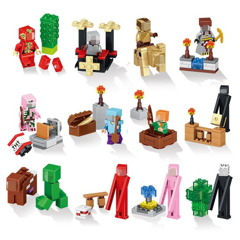 Mine World font b Minecrafted b font Minifigures Building Blocks My Craft Crystal Model Bricks Compatible