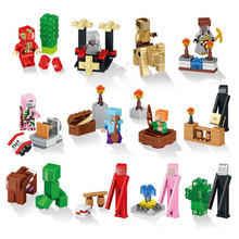 Mine World Minecrafted Minifigures Building Blocks My Craft Crystal Model Bricks Compatible with Educational Kids Toys