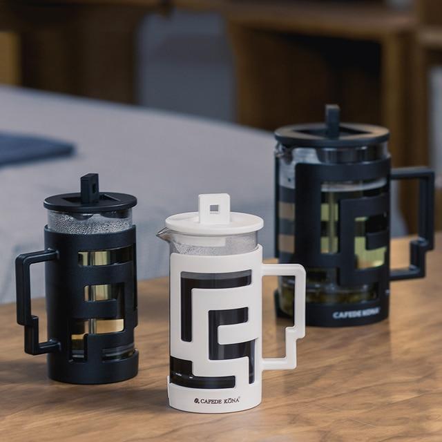 Cafetiere ฝรั่งเศสกดเครื่องชงกาแฟ 350ML 800ML เครื่องอัดฉีดเครื่องชงกาแฟหม้อแก้วเกรดอาหารผนังให้ช้อน