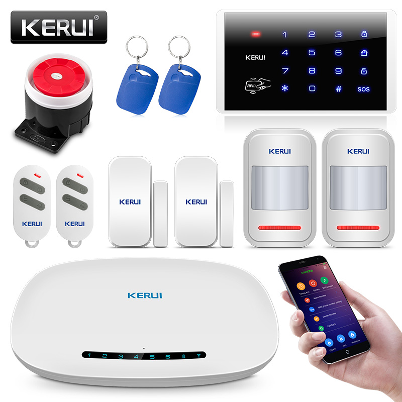 KERUI Security Home GSM Alarm System IOS Android APP Control SMS Burglar Alarm System With Wireless