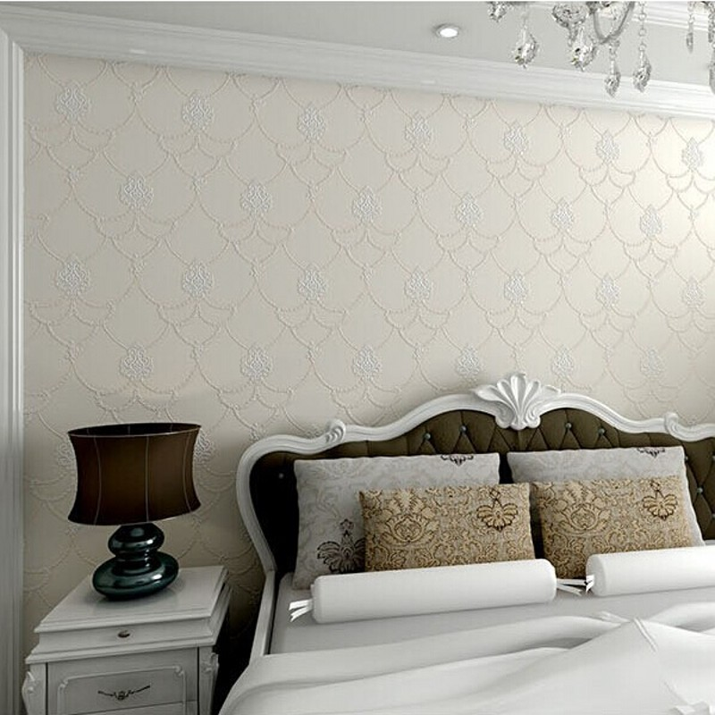 ФОТО beibehang Non Woven Embosed Flocking Wall Paper Europea 3d Floral Pattern Damask Wallcovering Minimalist Modern Style Wallpaper
