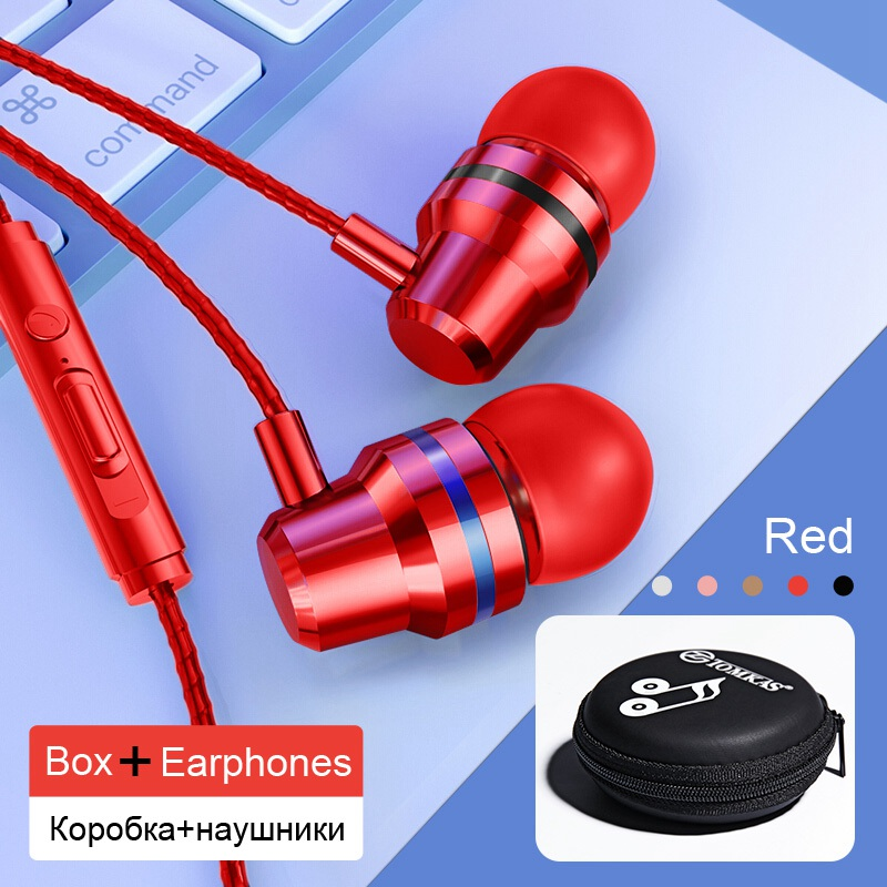 TOMKAS Wired Earbuds Headphones 3.5mm In Ear Earphone Earpiece With Mic Stereo Headset 5 Color For Samsung Xiaomi Phone Computer 23