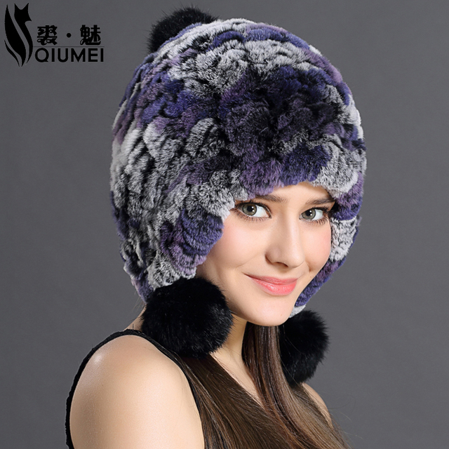 Genuino de las mujeres de Punto Rex Rabbit Fur Hats Sombrero Ruso ushanka Natural Gorros de Piel De Conejo Rex de la raya señora winter Warm Head Wear Envío