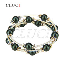 CLUCI vintage noir perles wire wrap bracelet réglable argent plaqué bracelet bijoux