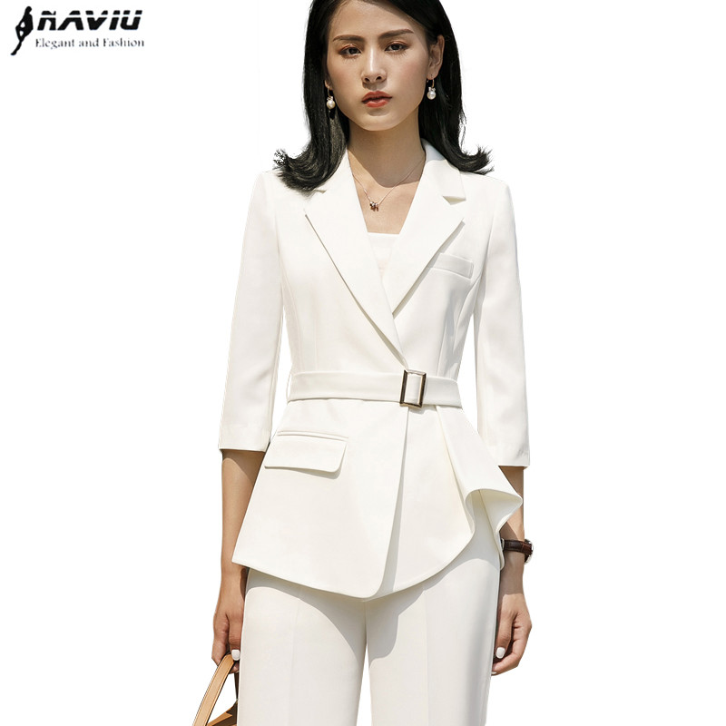 Fashion temperament women pants suits New elegant slim half sleeve blazer and trousers office ladies plus