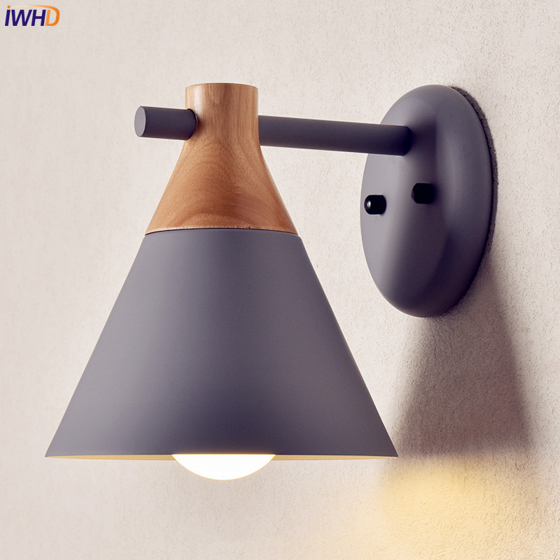 IWHD Nordic Wooden LED Wall Light Bedroom Living Room Colorful Modern Wall Lights Sconce Beside Lamp Arandela Lampara Pared