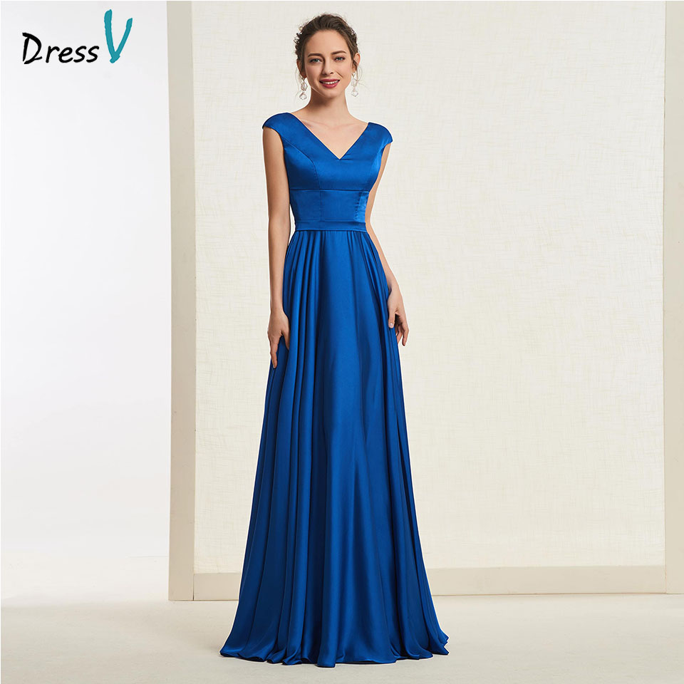 Dressv denim blue long   prom     dress   v neck cap sleevs a line simple zipper up floor length evening party gown   prom     dresses