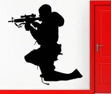 Hombre Soldado Francotirador Silueta Dormitorio Decoración Fresca Etiqueta de La Pared Casero Mural de La decoración Serie Militar Del Vinilo Del Arte Decals M-82