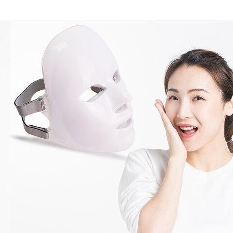 7 cores Led M scara Facial Com Terapia Photon Rejuvenescimento Da Pele Cuidados para o