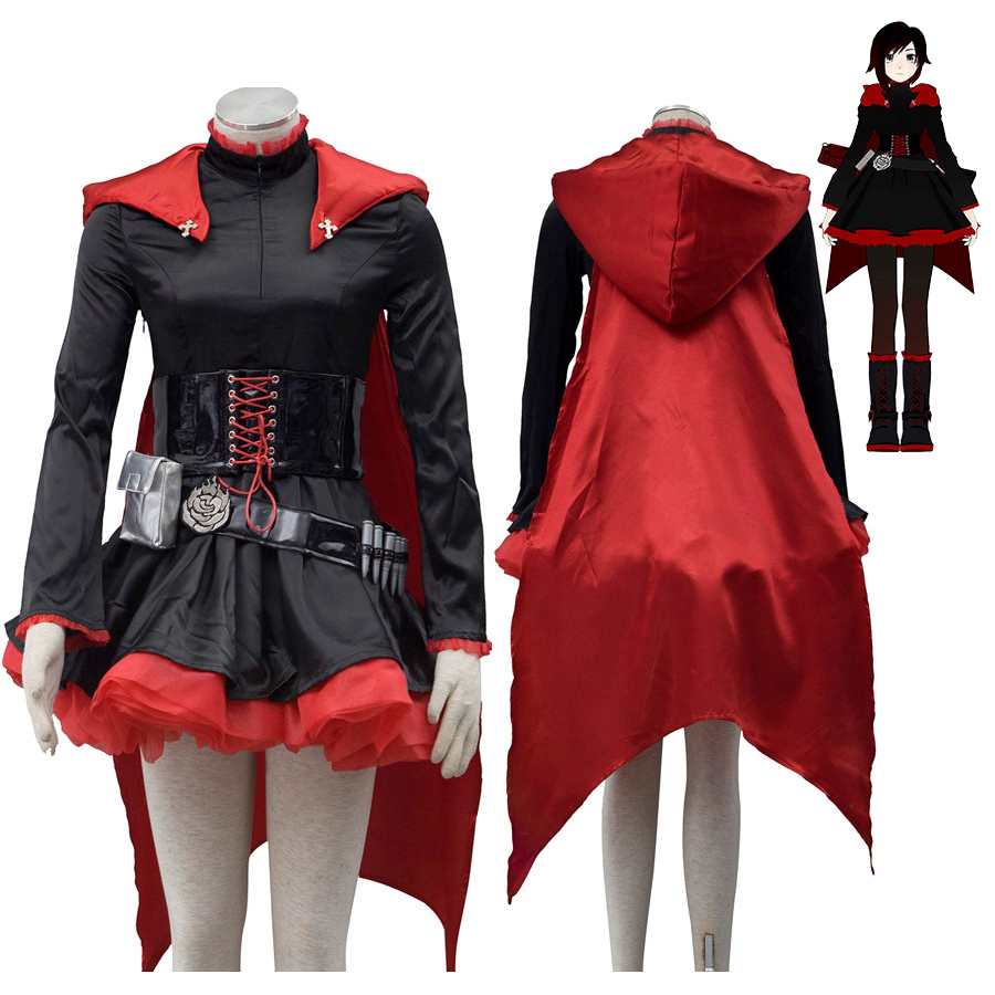 New RWBY Ruby Rose Cosplay Costume Fancy Red Dress