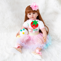 Bebe Reborn Doll Lifelike Baby Doll Girl Newborn Dolls Gift Princess Toy Strawberry Clothes For Big Size Reborn Toddler Doll Toy