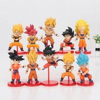 10pcs/lot 5 8cm Dragon Ball Z Super Battle of Saiyans Son Goku Pvc Toys Super Saiyans Gokou