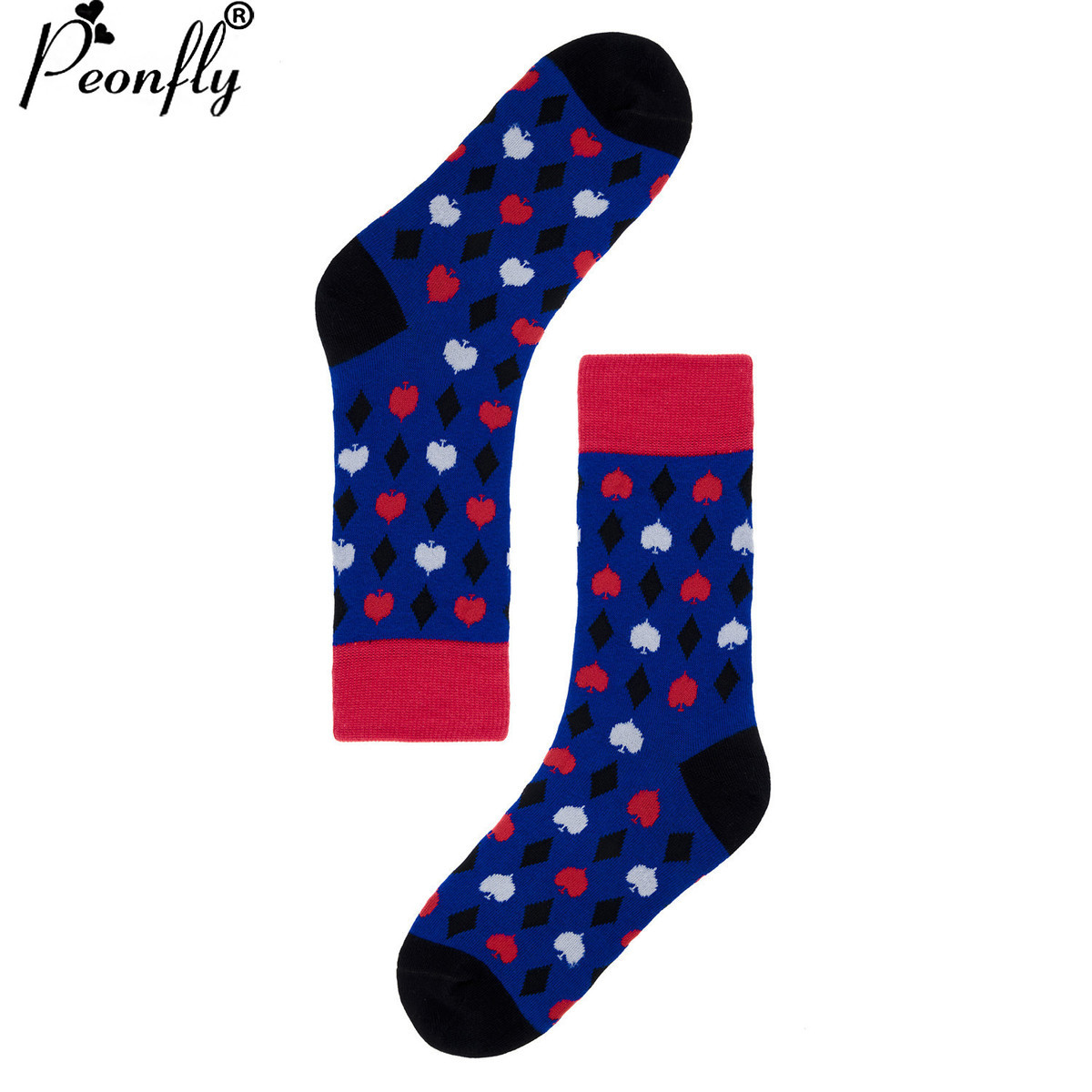 PEONFLY USA(6-10) long dress high New Pattern Funny Socks men women happy Lovers Socks Male Cotton