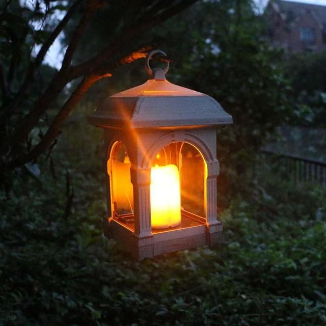 Portable Solar Led Hanging Light Candle Lantern Shape Ip44 Waterproof Hang Lamp Outdoor Yard Lawn
