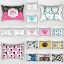 love heart pineapple beauty pillow cases rectangle  tropical pineapples pattern two sides printing covers 50*30cm