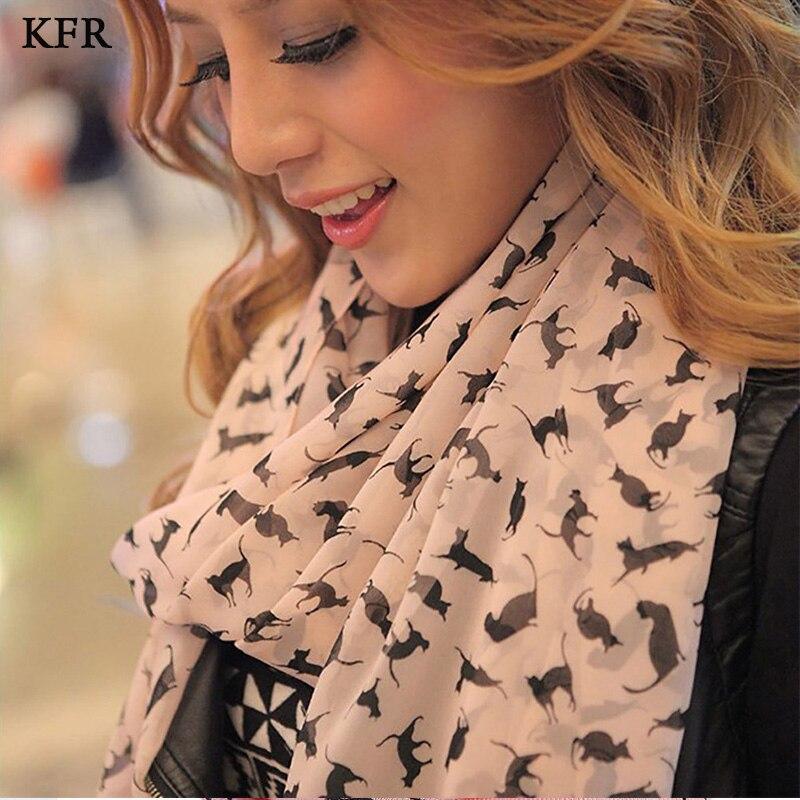 Fashion Cat Print Scarf Bandana Shawl Women Chiffon Silk Scarf For Ladies Luxury Autumn Long Soft Scarves Female