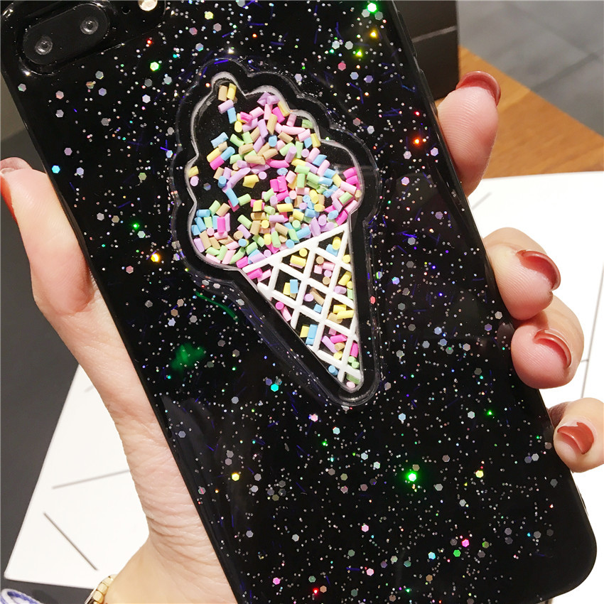 Transparent ICECREAM Style Full Protective Bling Glitter Case For iPhone 7 8 PLUS TPU Cover for iPhone X 6S Plus