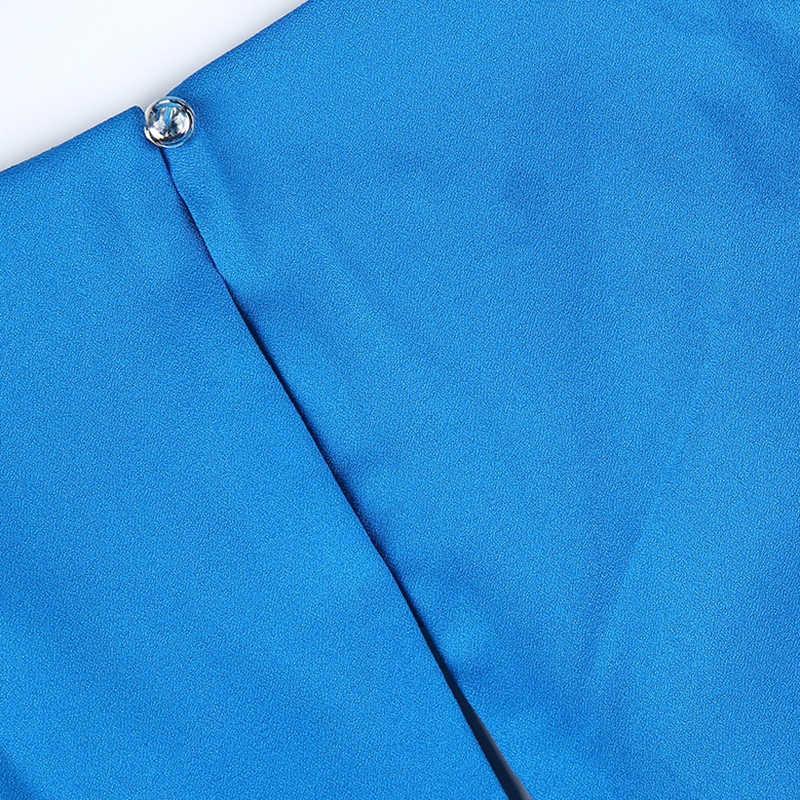 HDY Haoduoyi бренд 2019 женский синий Повседневный сексуальный обтягивающий комбинезон с бантом на талии с v-образным вырезом на молнии сзади без рукавов женский элегантный комбинезон